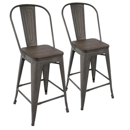 Oregon High Back Counter Stool - Set Of 2