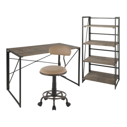 Dakota Desk - Bookcase - Swift Task Chair Set