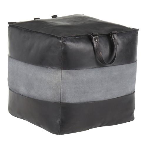 Cobbler Pouf (Black Faux Leather + Grey Canvas)