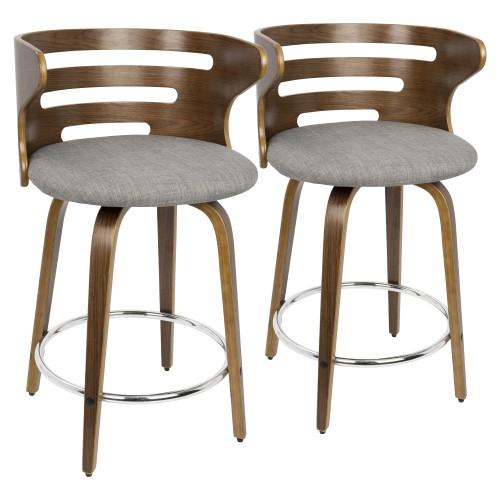 Cosini Counter Stool (Walnut + Grey) - Set of 2