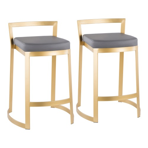 Fuji DLX Counter Stool (Grey Faux Leather + Gold Metal) - Set of 2