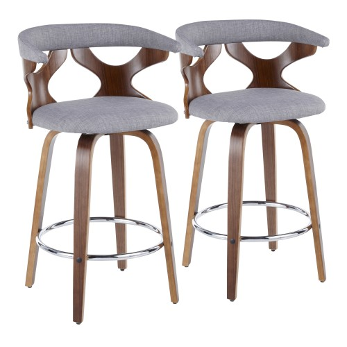 Gardenia Counter Stool (Walnut + Light Grey Fabric) - Set of 2