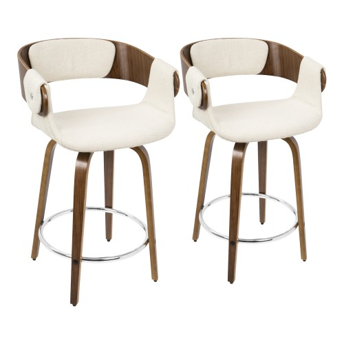 Elisa Counter Stool (Walnut + Cream) - Set Of 2