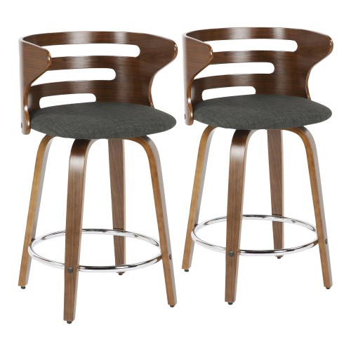Cosini Counter Stool (Walnut + Charcoal) - Set of 2