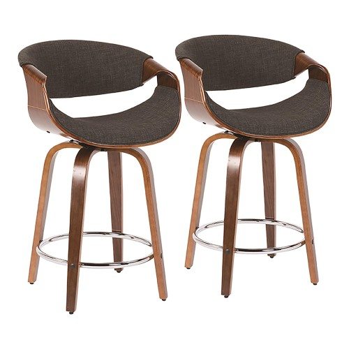 "Curvini 24"" Counter Stool (Walnut + Charcoal) - Set of 2"