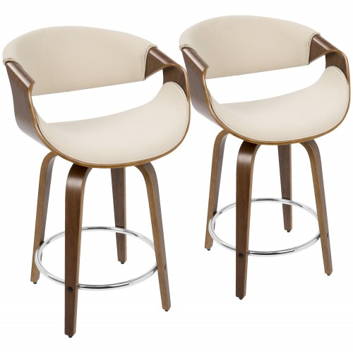"Curvini 24"" Counter Stool (Walnut + Cream)  - Set of 2"