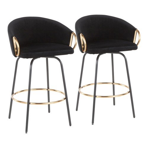 Claire Counter Stool (Black Velvet + Black Metal) - Set of 2