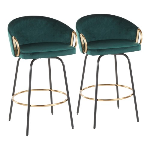 Claire Counter Stool (Green Velvet + Black) - Set of 2