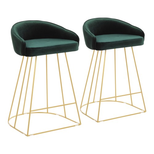 Canary Upholstered Counter Stool (Green Velvet + Gold) - Set of 2