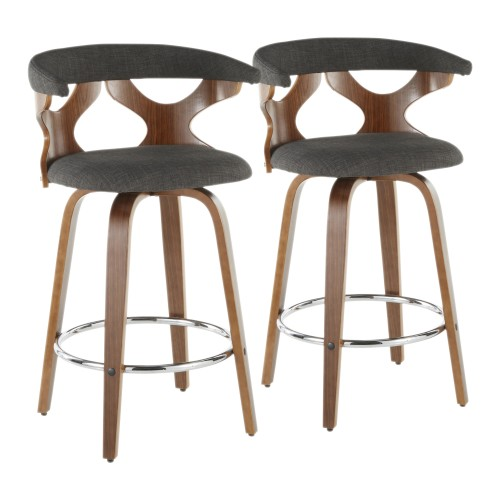 Gardenia Counter Stool (Walnut + Charcoal Fabric) - Set of 2