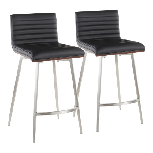Mason Swivel Counter Stool (Black Faux Leather) - Set of 2