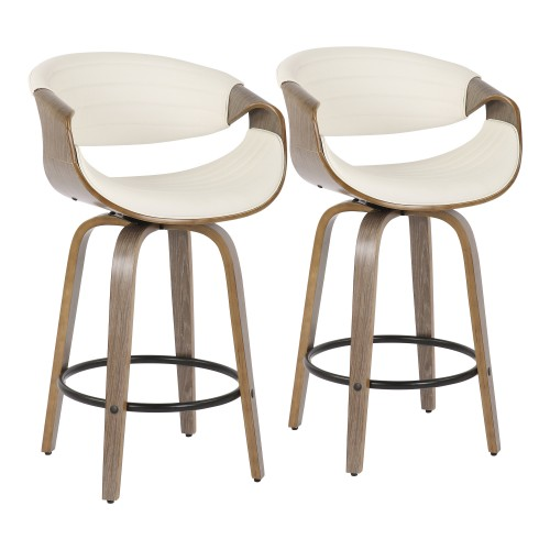 Symphony Counter Stool (Light Grey Wood + White Faux Leather) - Set of 2