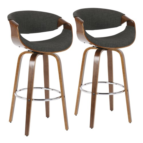 "Curvini 30"" Bar Stool (Walnut + Charcoal Fabric) - Set of 2"