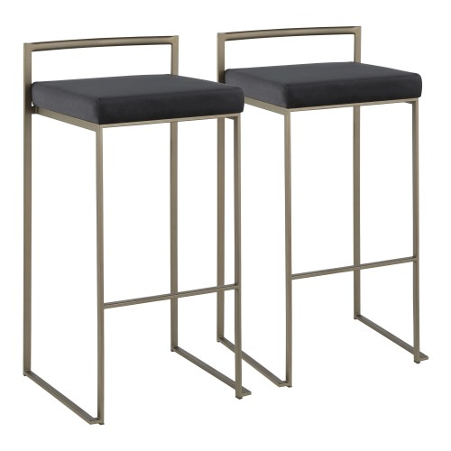 Fuji Stacker Bar Stool (Antique + Black Velvet) - Set of 2
