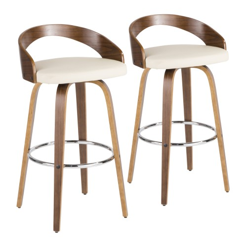 Grotto Bar Stool (Walnut + Cream) - Set of 2