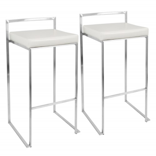 Fuji Stacker Bar Stool (Stainless Steel + White Faux Leather) - Set of 2