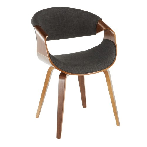 Curvo Chair (Charcoal Fabric + Walnut Wood)