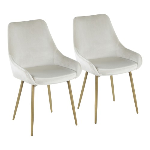 Diana Chair (Cream Velvet + Satin Brass) - Set of 2