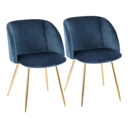 Fran Chair (Blue Velvet + Gold Metal) - Set of 2