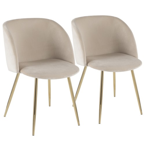 Fran Chair (Cream Velvet + Gold Metal) - Set of 2