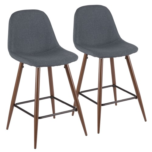 Pebble Counter Stool (Blue Fabric + Walnut Metal) - Set of 2