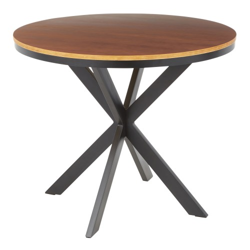 X Pedestal Dinette Table (Black + Walnut)