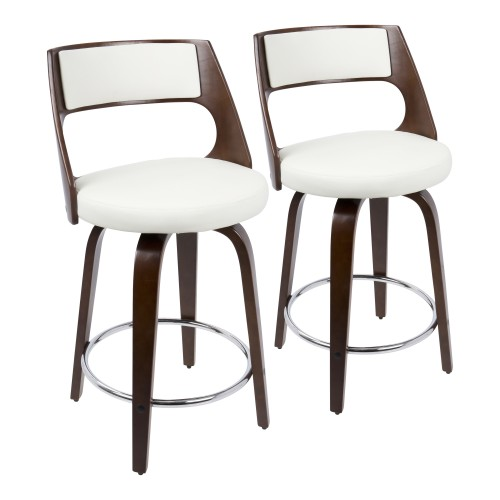 Cecina 24'' Counter Stool (Cherry + White) - Set of 2