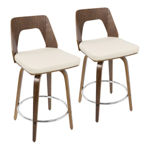 "Trilogy 24"" Counter Stool (Cream Faux Leather) - Set of 2"