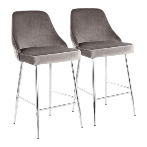 Marcel Counter Stool (Silver Velvet + Chrome) - Set of 2