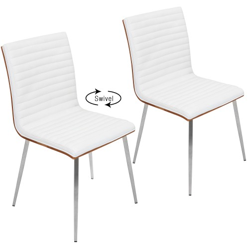 Mason Dining Chair (White Faux Leather + Walnut + Stainless Steel) - Set of 2